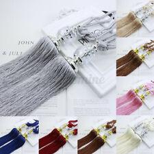Pair Luxury Crystal Curtain Decor Holdbacks Rope Tie Backs Tassel Tieback