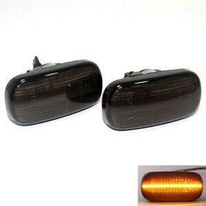 2x For Honda Accord 2003-07 Front Fender LH+RH Side Marker Lamp LED Black Cover