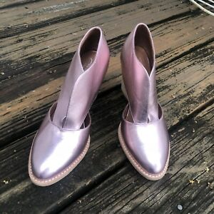 Jeffrey Campbell Free People Pink Metallic Ankle Boot Sz 8 Booties Womens Shoes