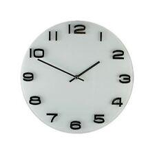 HomeTime Glass Wall Clock White Raised Metallic Numbers 35cm