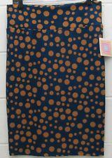 LuLaRoe Cassie Pencil Skirt Polka Dots Stretch Dark Teal Light Brown L Large New