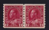 Canada Sc #127 (1912) 2c carmine Admiral COIL PAIR Mint VF NH