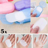 5x Portable Outdoor Travel Mini Soap Paper Washing Hand Bath Clean Scented Sheet