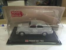 """DIE CAST 1000 MIGLIA """" PEUGEOT 203 - 1954 """" + TECA RIGIDA BOX 2 SCALA 1/43"""