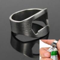 Stainless Steel Finger Thumb Ring Bottle Open Opener Bar Beer Tool Keyring gifts