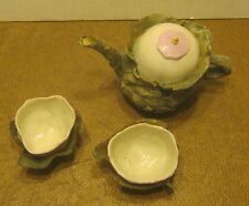Art Pottery Ceramic Miniature Teapot & 2 Cups INITIALED Very Unique OOAK!!!!