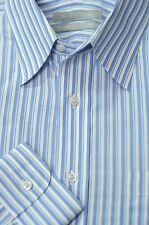 Nordstrom Men's White Purple & Aqua Stripe Cotton Dress Shirt 15.5 x 34