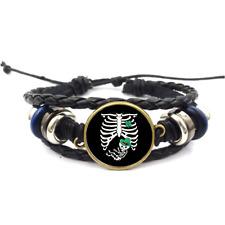 Irish Baby Rib Cage Glass Cabochon Bracelet Braided Leather Strap Bracelets