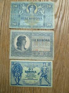 3 Hungary 1919 banknotes, 1 each of 5, 10 & 20 korona.