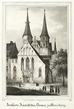 Merseburg-dom-fachada oeste-Saxonia-litografía 1837