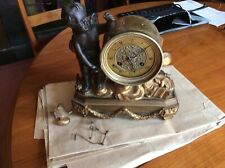 More details for antique clock french cupid lost his arrow solid bronze