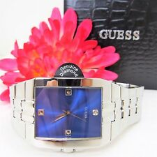 Guess U10014G2 Men's Watch Blue Face with Genuine Diamond Accent NEW TAGS & BOX
