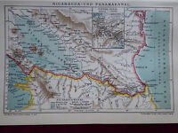 Landkarte von Nicaragua und Panamakanal, Brockhaus 1904