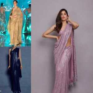 Saree Indian Bollywood New Designer Wedding Sari Georgette Sequence Work Saree