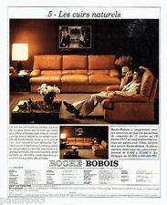 PUBLICITE ADVERTISING 036  1977   Roche -Bobois  canapé fauteuil cuir naturel