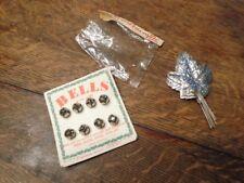Vintage Christmas Bells & Silver Leaf Leaves In Package