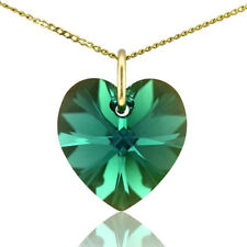 9ct Gold Birthstone Heart Necklace with Swarovski Crystal Choose Month Colour