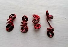 Handmade cowrie beads and wire hair jewellery for locs, braids and twists - RED