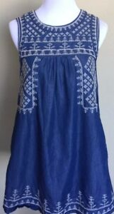 Romeo & Juliet Womens Sz S Embroidered Blue Jean Denim Dress Sleeveless