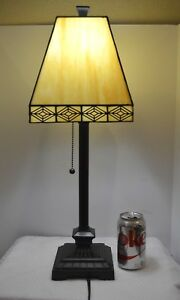 Stained Leaded Glass Mission Square Shade Black/Cream Square Table Lamp PERFECT!