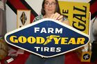"""Vintage 1960 Goodyear Farm Tires Tractor Truck Chevrolet Ford 28"""" Metal Sign"""