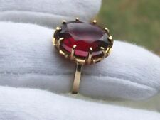 Antique Vintage 10K Yellow Gold Ring ~ 10 Prong Set Ruby ~ size 6.25