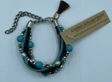 Cowboy Collectibles Authentic Braided Horse Hair Bracelet; Faux Turquoise Pearls
