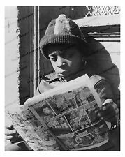 1940s era vintage photo-African American boy reading comics-funnypaper 1-8x10 in