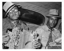 1930s era vintage photo-African American musicians-accordion-old car-8x10in