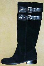 NINE WEST Tumble Women's Black Suede/Leather Riding Boots NEW size 5