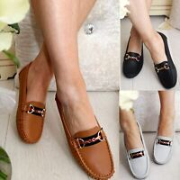 LADIES WOMENS FLATS SLIP ON LOAFERS WORK OFFICE BUCKLE PUMPS COMFY SHOES SZ 3-8