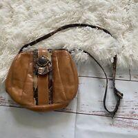 Vintage SHARIF Tan Leather Snake Trim Vtg Crossbody Shoulder Strap Handbag Purse