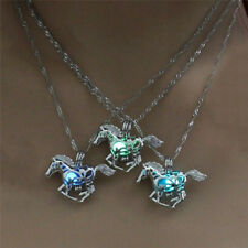 Hollow Luminous Horse Pendant Necklace Glow In Dark Chain Necklace Lady .kn