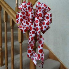 """10"""" Wide Red Polka Dot Bow For Christmas Or Valentine'S Day Decor~Crafts Gifts"""