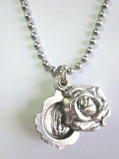"Our Lady of Guadalupe Locket Style Rose Slide Medal Pendant 24"" Ball Chain"