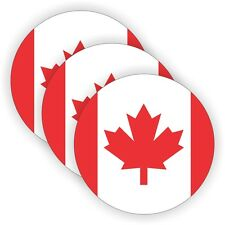 3x Canadian Flag Hard Hat Decals / Helmet Stickers / Labels Canada Maple Leaf