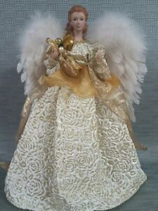 """Christmas angel tree topper 16"""" w/ feather wings"""