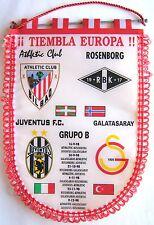 BANDERIN ATHLETIC CLUB BILBAO CHAMPIONS LEAGUE 98-9 JUVENTUS PENNANT GALLARDETE