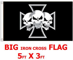 FLAG 5FT X 3FT GERMAN ARMY IRON CROSS DEATH SKULLS 4 BIKER REBEL PUNK MANCAVE