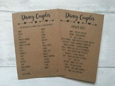x10 Disney Couples Hen Party, Bridal Shower game activity cards and answer sheet