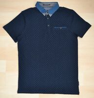 Auth Ted Baker Navy Dotted Polo Shirt w/ Blue & Grey Contrast Collar Size 1-4
