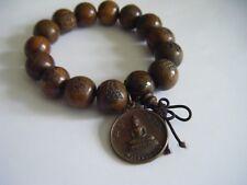 Spiritual Vintage Buddha Amulet Mala Chunky Wood Bracelet Monk Blessed Unalome