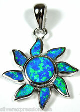 Blue Fire Opal Inlay 925 Sterling Silver Sun Flower Pendant For Necklace