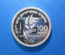 FRANCE 100 FRANCS 1989 ALPINE SKILING OLYMPICS 1992 SILVER KM 971 #5115#