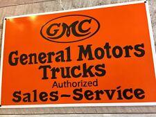 """GMC TRUCKS 20""""x12"""" CHEVROLET PORCELAIN BANNER ADVERTISING SIGN. VERY HEAVY 😎"""