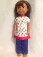 Wellie Wishers Red star patriotic dress pants American Girl doll clothes 14 fit