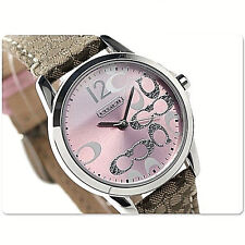 NWT Coach Women's Watch Brown Pink Leather Silver SS Glitz CLASSIC 14501621 $195