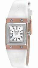KENNETH COLE New York KC2821 Women's Analog Rectangle Watch White Leather Strap