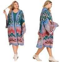 NWT UMGEE Open Front Kimono Cardigan Duster Boho Print Flower Midi Size XL 1XL
