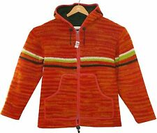 Nepal Strickjacke orange+rot, Gr.L, Ethno Jacke 100% Wolle, Fleece-Futter,Kapuze